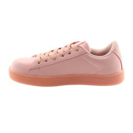 Buty sportowe American Club BS07 wkładka skórzana różowe 2