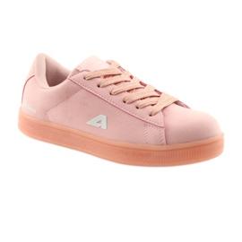 Buty sportowe American Club BS07 wkładka skórzana różowe 1