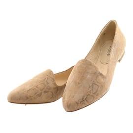 Lordsy balerinki damskie skóra Caprice 24203 beżowe brązowe 3