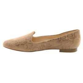Lordsy balerinki damskie skóra Caprice 24203 beżowe brązowe 2