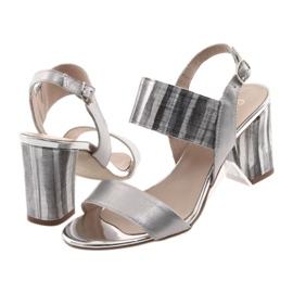 Sandały damskie na słupku Gamis 3390 srebrne szare 4