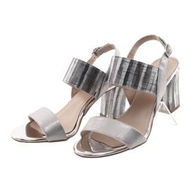 Sandały damskie na słupku Gamis 3390 srebrne szare 3
