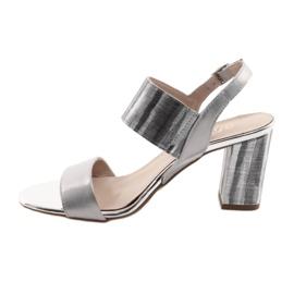Sandały damskie na słupku Gamis 3390 srebrne szare 2