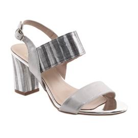 Sandały damskie na słupku Gamis 3390 srebrne szare 1