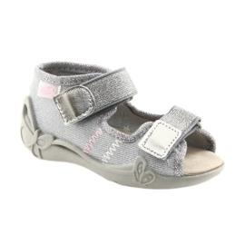Befado obuwie dziecięce 342P002 srebrzyste szare 1