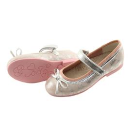 Czółenka balerinki z kokardą American Club GC18 szare różowe 4