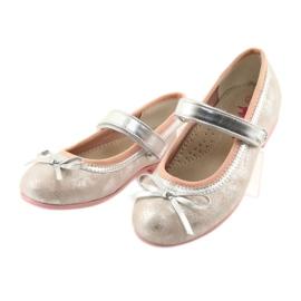 Czółenka balerinki z kokardą American Club GC18 szare różowe 3