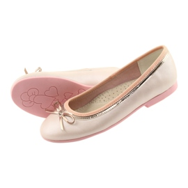 Balerinki z kokardą różowa perła American Club GC14/19 różowe złoty 4