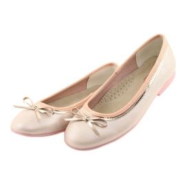 Balerinki z kokardą różowa perła American Club GC14/19 różowe złoty 3