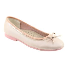 Balerinki z kokardą różowa perła American Club GC14/19 różowe złoty 1
