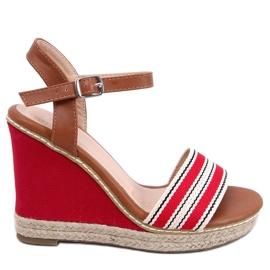 Sandałki na koturnie czerwone 9068 Red 4