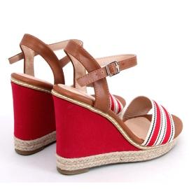 Sandałki na koturnie czerwone 9068 Red 2