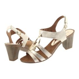 Caprice sandały damskie z ozdobą 28308 złoty owal żółte 4