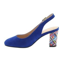 Sandały na słupku Sergio Leone 788 indigo mic niebieskie 2
