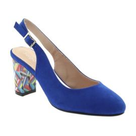 Sandały na słupku Sergio Leone 788 indigo mic niebieskie 1
