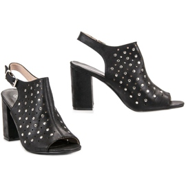 Sandałki Z Dżetami VINCEZA czarne 2