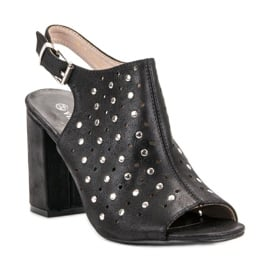 Sandałki Z Dżetami VINCEZA czarne 4