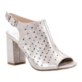 Sandałki Z Dżetami VINCEZA szare 2