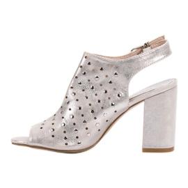Sandałki Z Dżetami VINCEZA szare 3