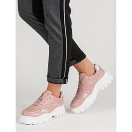 Różowe Sneakersy Z Efektem Holo 3