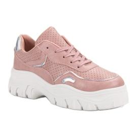 Różowe Sneakersy Z Efektem Holo 4