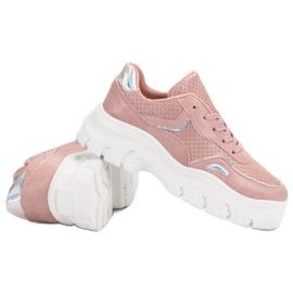 Różowe Sneakersy Z Efektem Holo 6