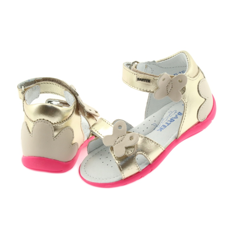 Sandałki dziewczęce motyl Bartek 51569 złote zdjęcie 5