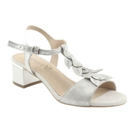 Sandały z listeczkami Caprice srebrne szare 1