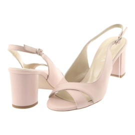 Sandały damskie na słupku Badura 4728 pudrowy róż różowe 4