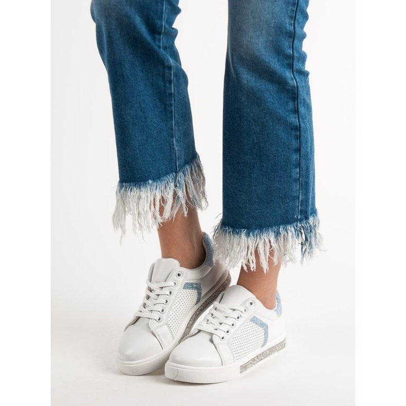 Ideal Shoes białe Buty Sportowe Z Cyrkoniami zdjęcie 1