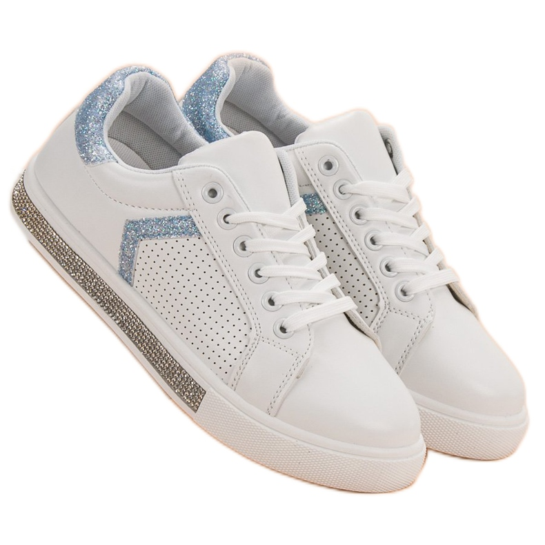 Ideal Shoes białe Buty Sportowe Z Cyrkoniami zdjęcie 3