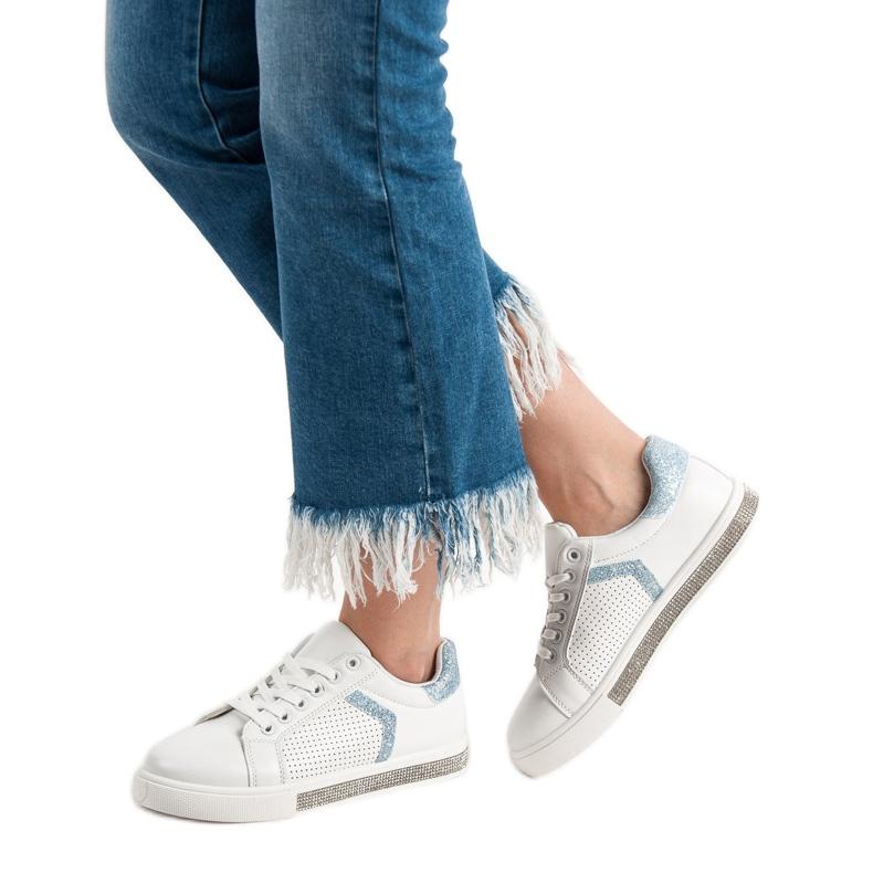 Ideal Shoes białe Buty Sportowe Z Cyrkoniami zdjęcie 2