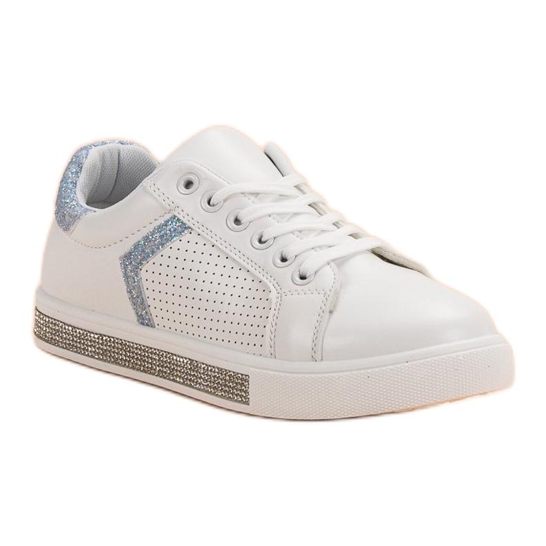 Ideal Shoes białe Buty Sportowe Z Cyrkoniami zdjęcie 4