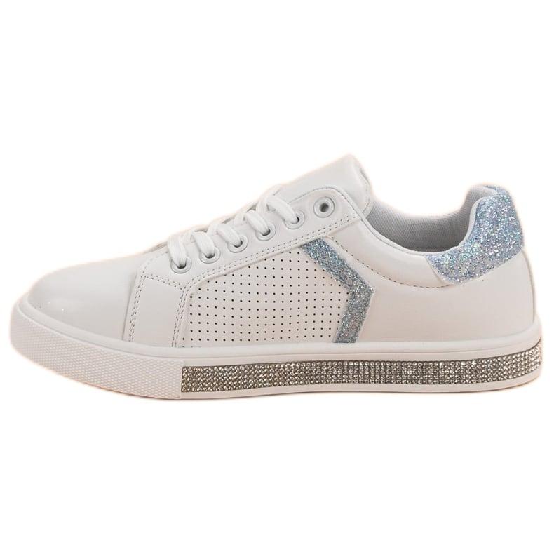 Ideal Shoes białe Buty Sportowe Z Cyrkoniami zdjęcie 5