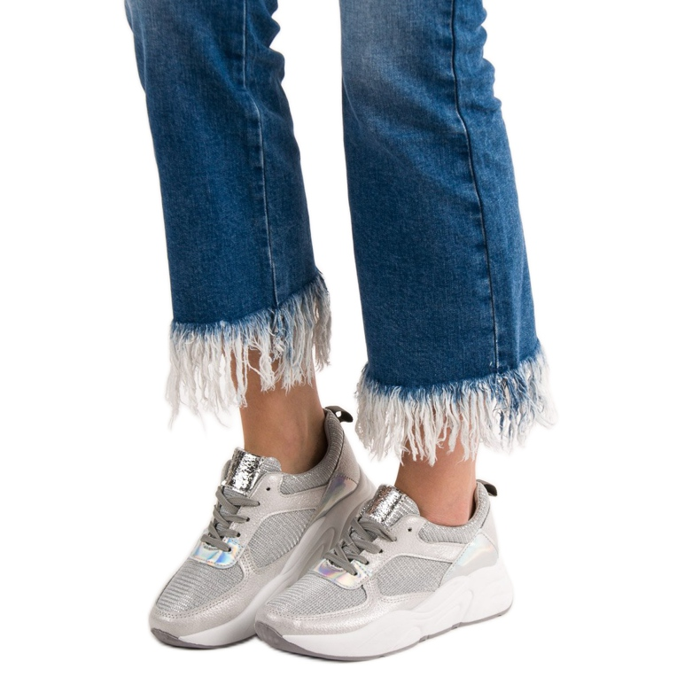Ideal Shoes szare Srebrne Buty Sportowe zdjęcie 1