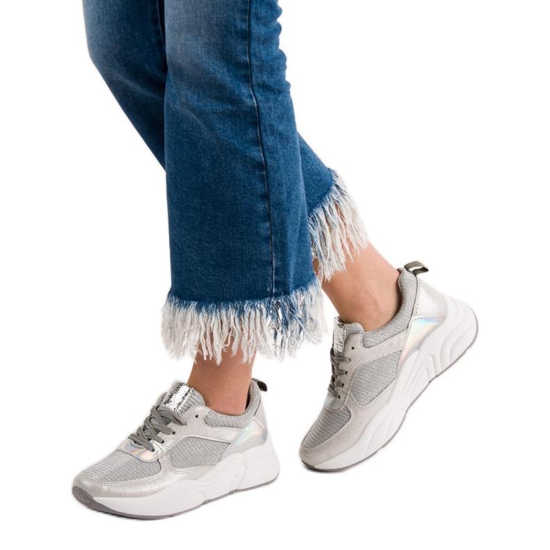 Ideal Shoes szare Srebrne Buty Sportowe zdjęcie 2