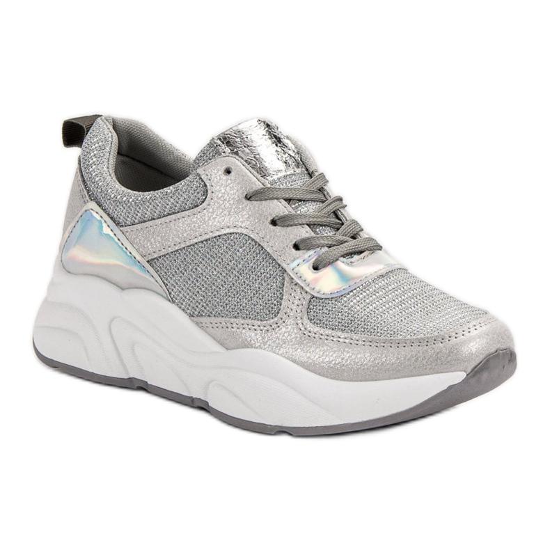 Ideal Shoes szare Srebrne Buty Sportowe zdjęcie 4