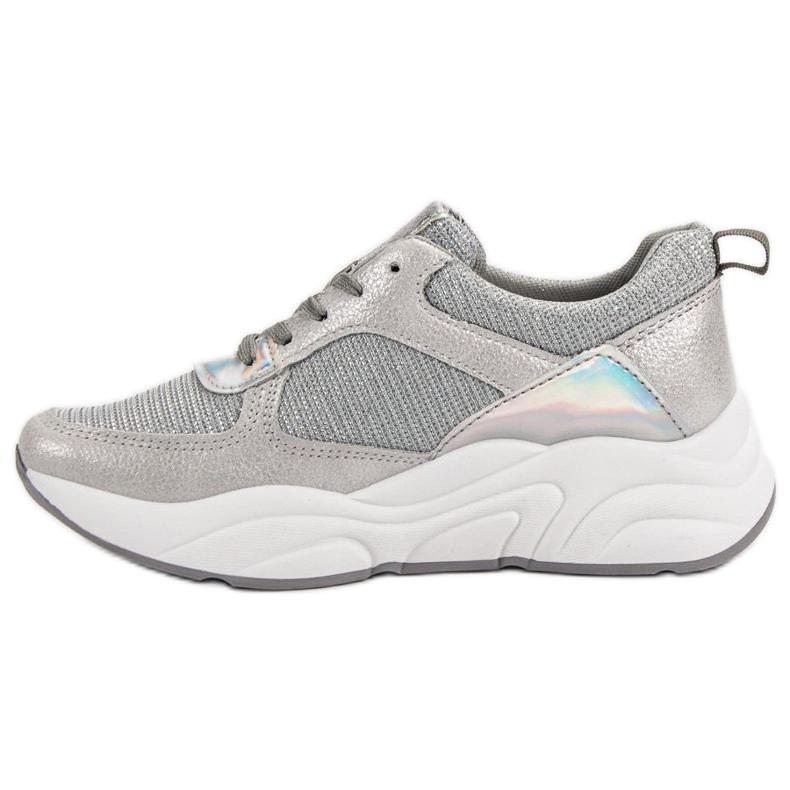 Ideal Shoes szare Srebrne Buty Sportowe zdjęcie 5