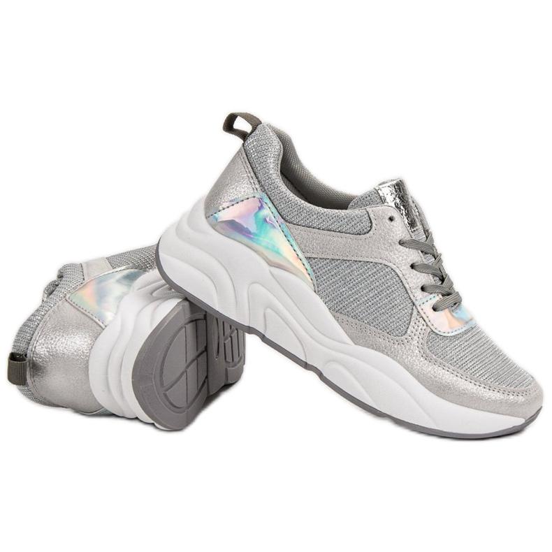 Ideal Shoes szare Srebrne Buty Sportowe zdjęcie 6