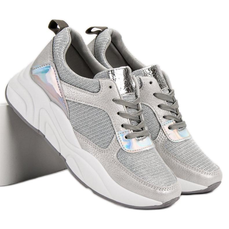 Ideal Shoes szare Srebrne Buty Sportowe zdjęcie 7