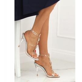 Sandałki na szpilce srebrne KSL701 Silver szare 5