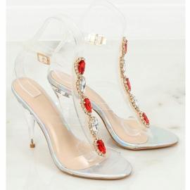 Sandałki na szpilce srebrne KSL701 Silver szare 2