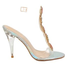 Sandałki na szpilce srebrne KSL701 Silver szare 4