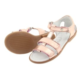 Sandałki dziewczęce różowe złoto Bartek 56016 żółte 5