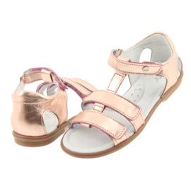 Sandałki dziewczęce różowe złoto Bartek 56016 żółte 4
