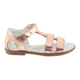 Sandałki dziewczęce różowe złoto Bartek 56016 żółte 1
