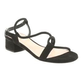 Sandały czarne na obcasie Edeo 3386 1