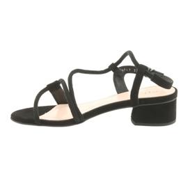 Sandały czarne na obcasie Edeo 3386 2