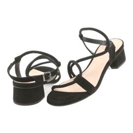 Sandały czarne na obcasie Edeo 3386 4