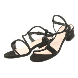 Sandały czarne na obcasie Edeo 3386 3